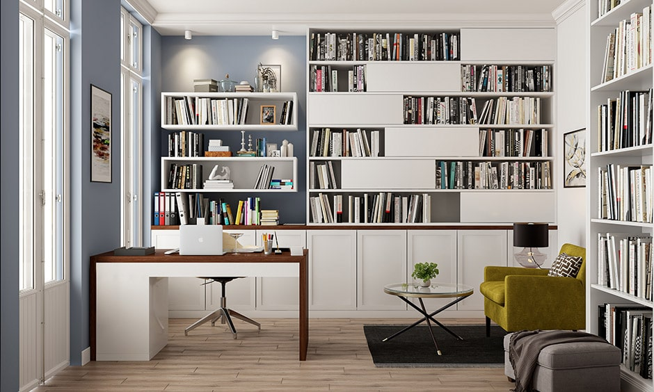 Modern bookshelf decor with a lot of storage cabinets for stationery and documents
