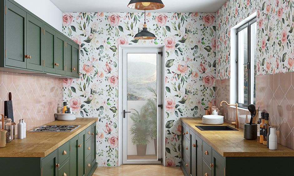 Modern kitchen design trends 2020 with kitchen wallpaper which are resistant to heat, water and grease