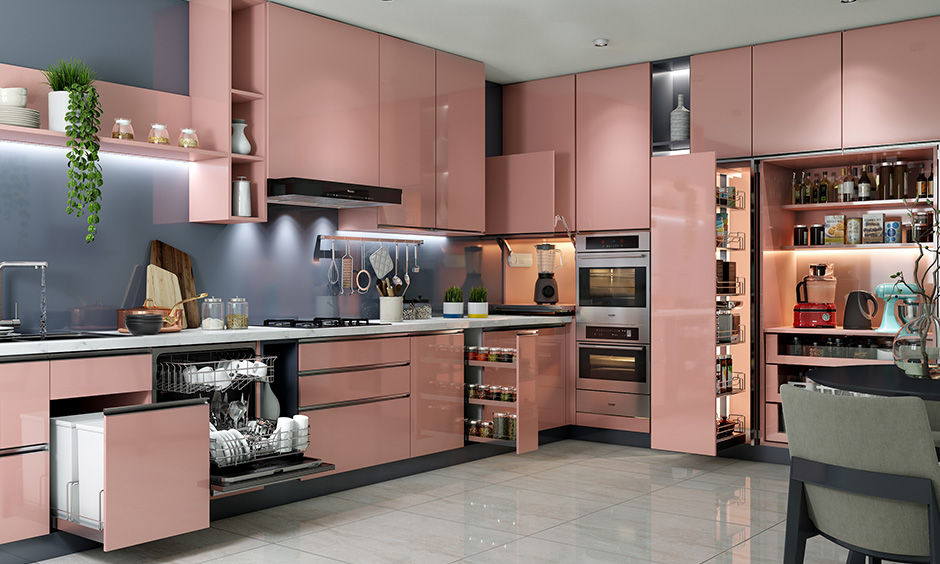 Latest kitchen design trends with a space to hide kitchen appliances is a smart way to keep the dirt away