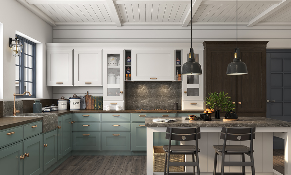 New style kitchen with lots of texture with brass strap hooks and knobs on drawers and cabinets