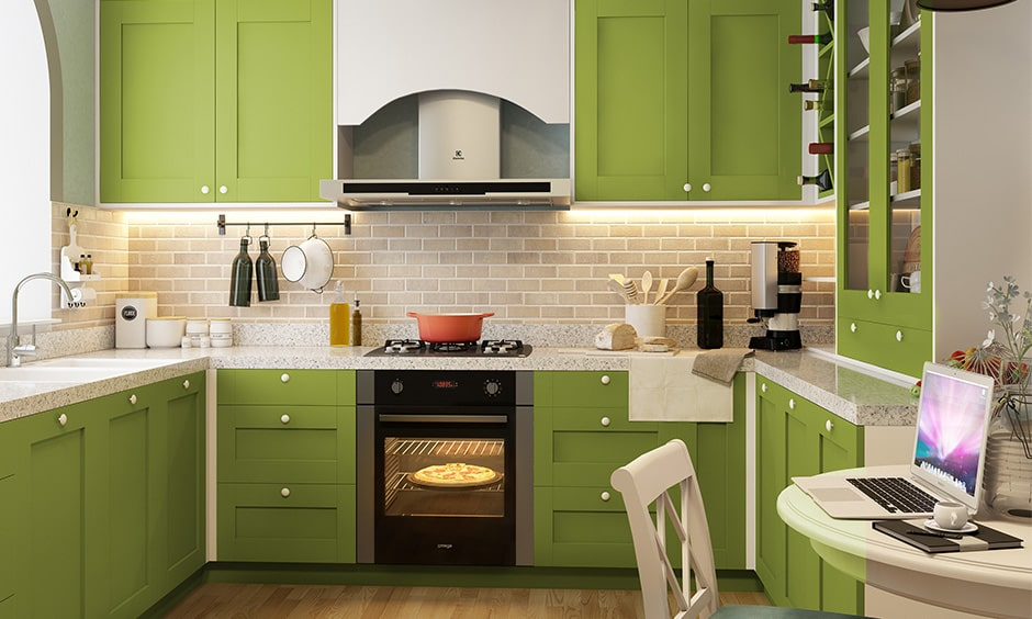 Kitchen colour combination with parrot green, whites and browns
