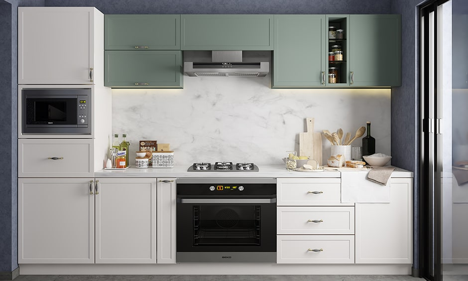 Kitchen colour combination with olive, white and muted navy makes bright, lively, and classic