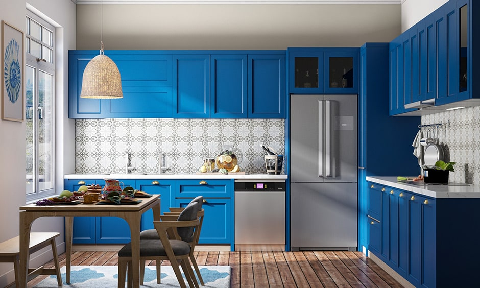 Kitchen color schemes with classic blue with grey and white