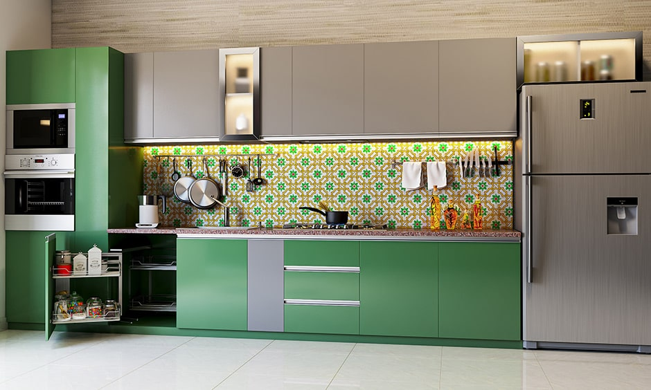 Best colour combination for kitchen with emerald green, grey and beige
