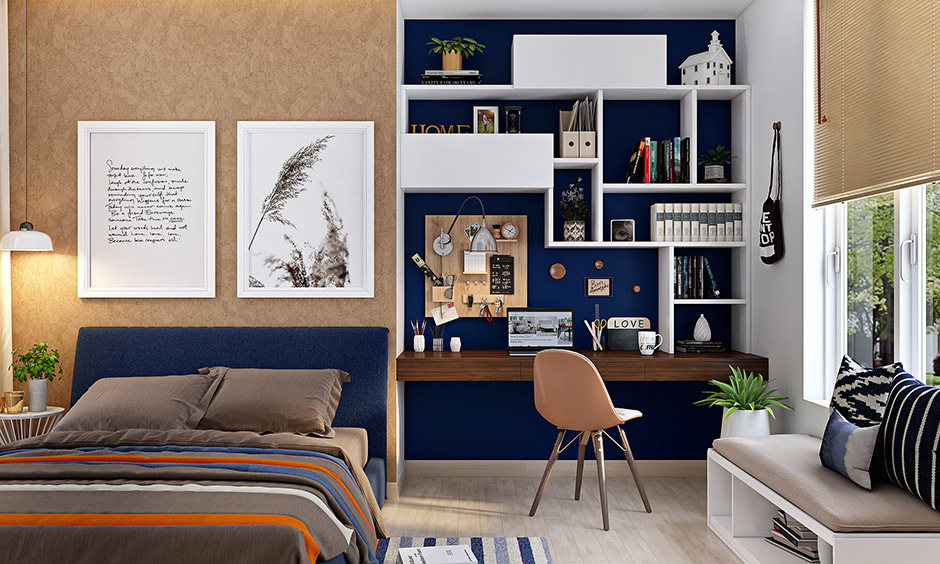 Blue and brown color combination for study room is refreshing and bright enough and will make any room stand out.