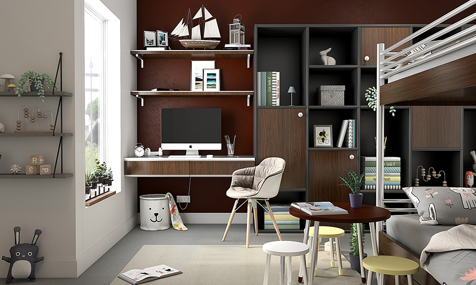 Deep brown and grey study room color combination creates both a calming and productive.