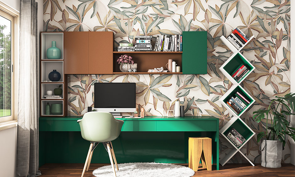 Study room painting colour with cedar green and coffee-coloured cabinets bring energetic