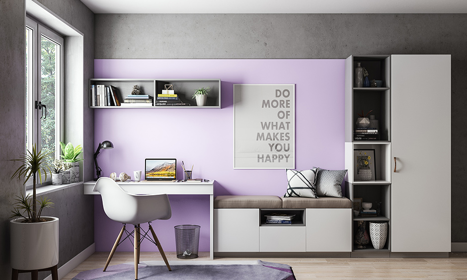 Lavender and grey color combination for study room brings in a magnificent touch to any room.