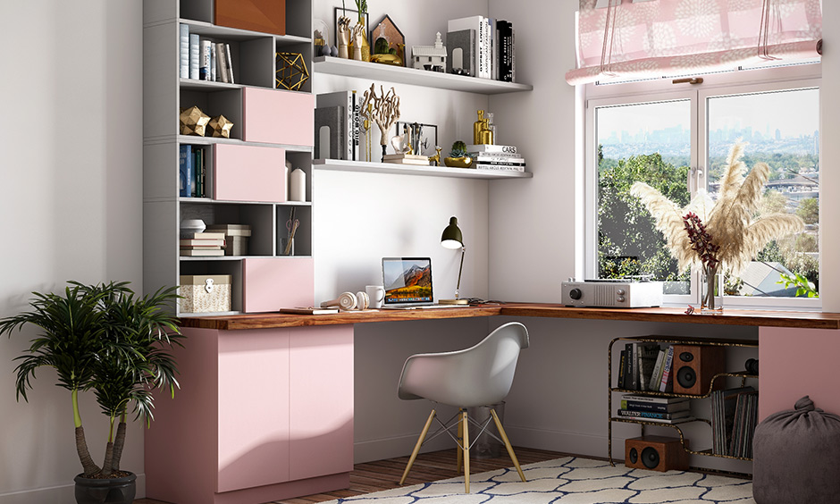 Pink and grey study room colour paint is a very feminine colour combination.