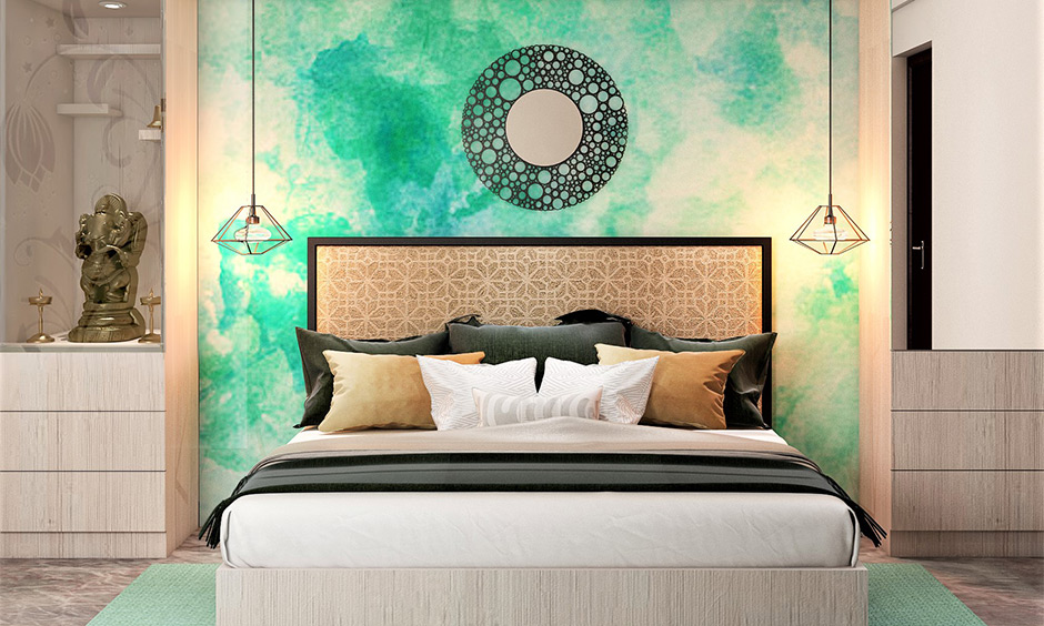 Round wall mirror design with the bubble-effect frame gives a sense of floating on water.