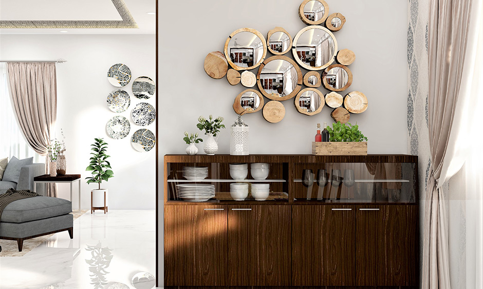 Mirror design with clustered wall mirror designs in wooden frames look earthy, rustic and brims with the abstract appeal.