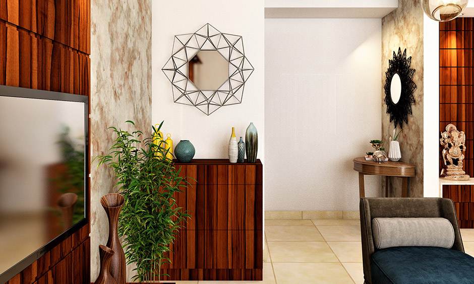 Wall design with mirror octagonal-shaped is edgy, unique and adds charm to space.