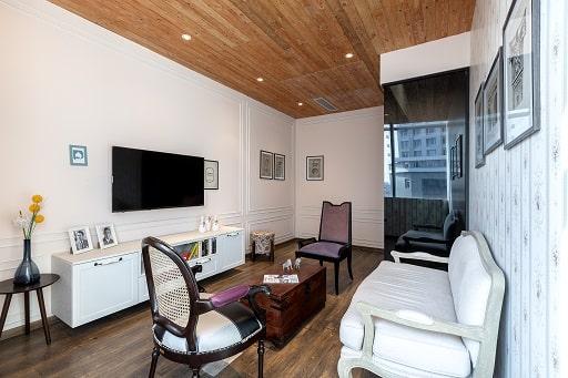Interior Design Studio Living Room With Sofa TV Unit Centre Table at Hyderabad.