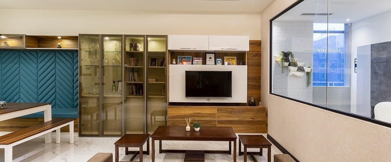 Living room concepts on display at hyderabad interior design studio.