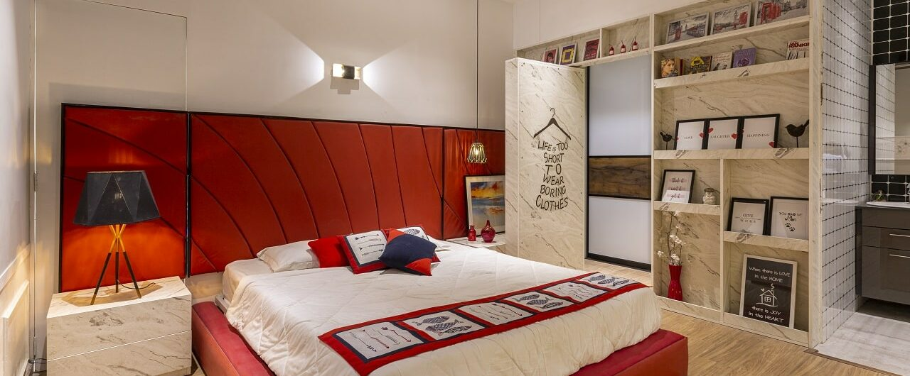Bedroom design concepts and 3 BHK flat on display at design cafe experience store in hyderabad