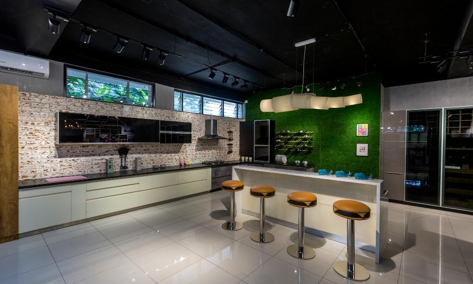 Modern industrial kitchen design with turfgrass looks stunning.