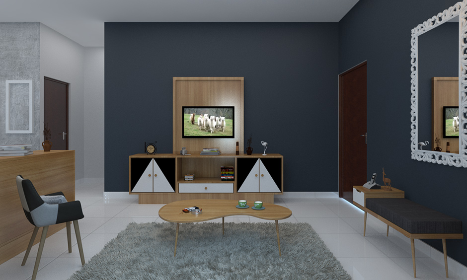 minimalist living room without sofa with wood inspired designs and a cozy coffee table, tv cabinet and chair