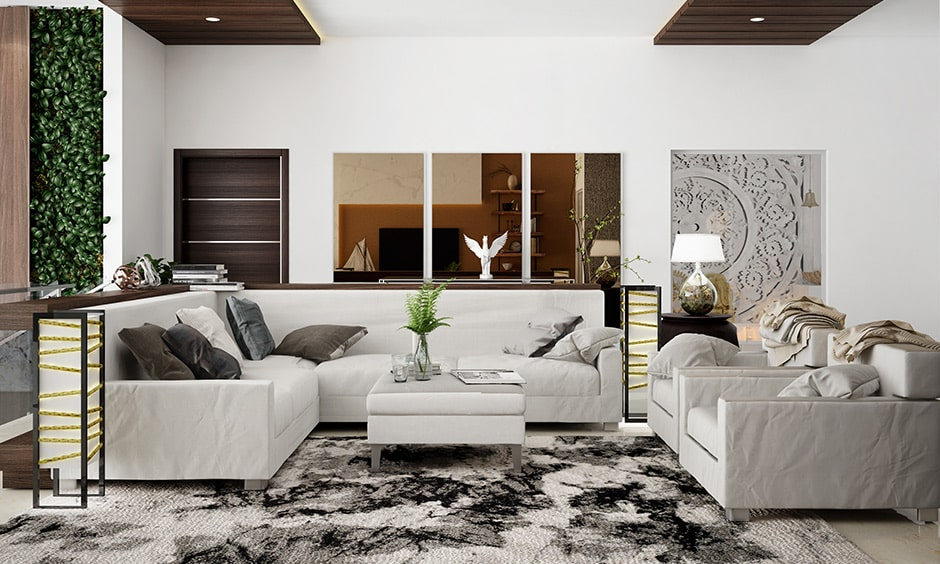 Combination of black and white rugs gives elegant look to your living room, it is a best carpet for living room