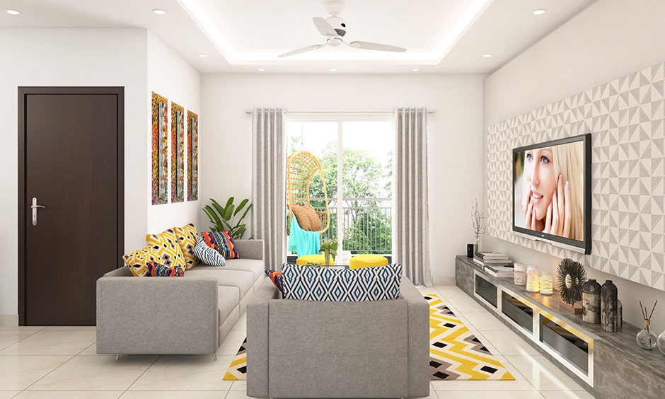 Tropical style rug gives gives your living room carpet design in vibrant look