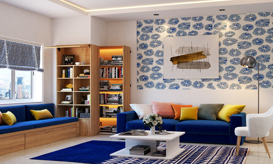 A striped pattern carpet is a good choice for living room carpet