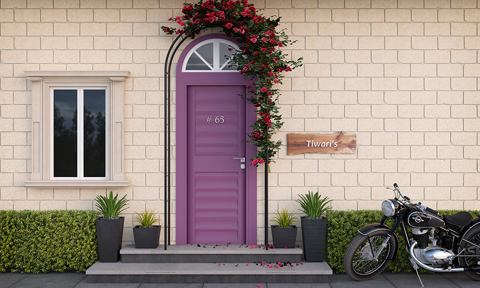 Front door paint colors with purple and flowering bush crowns