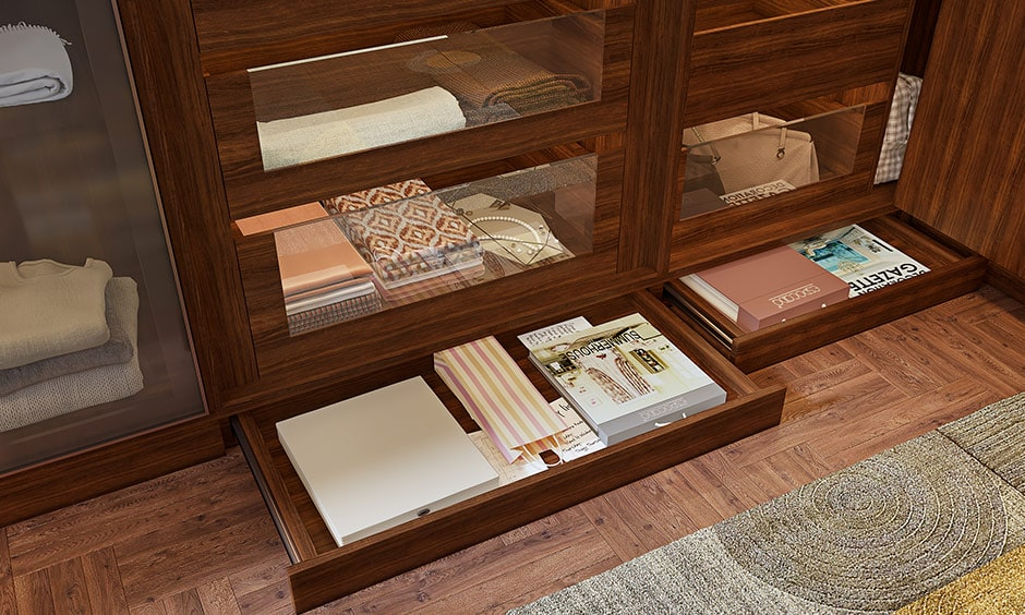 Compartments for your wardrobes with skirting drawers to keep your invoices, warranty cards, paper bags, extra stationary etc