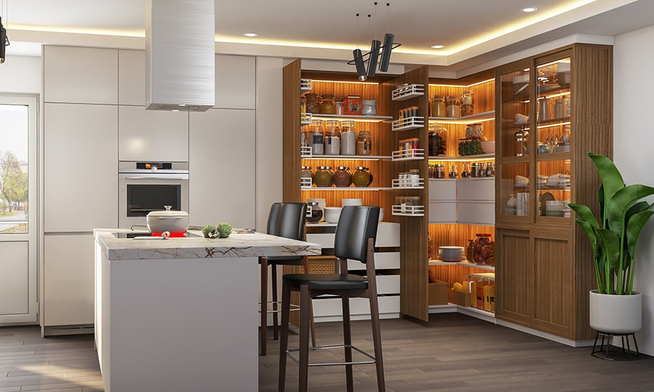 Kitchen pantry design ideas with a l-shaped kitchen pantry design