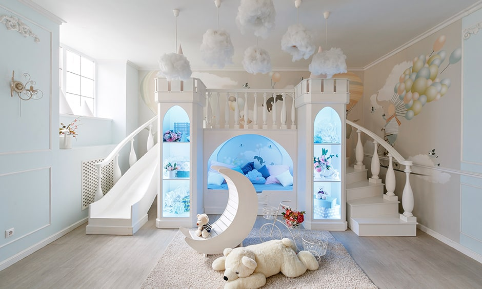 Kids playroom with an indoor slides from one area to another