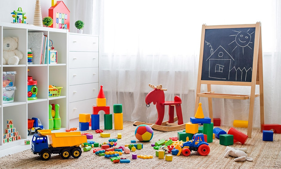 Kids play area design ideas with multicolored soft toys