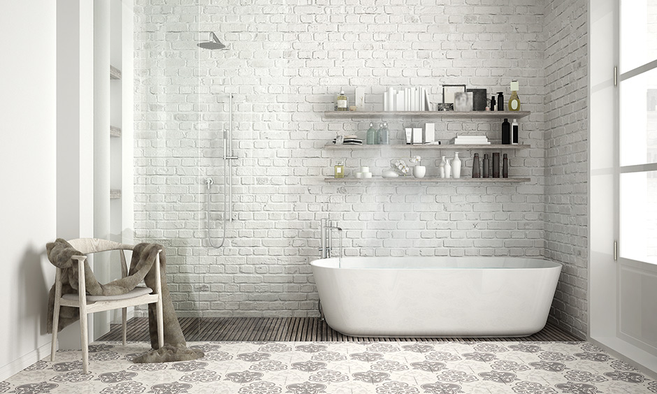Bathroom design with bathtub with a Scandinavian white beauty colour palette of white and grey sets