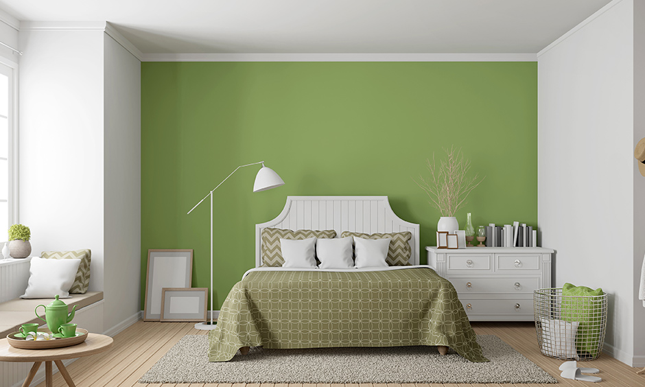 Zesty lime green bedroom makes you feel calm yet joyful with a few touches of light blue or white for a peaceful aura.