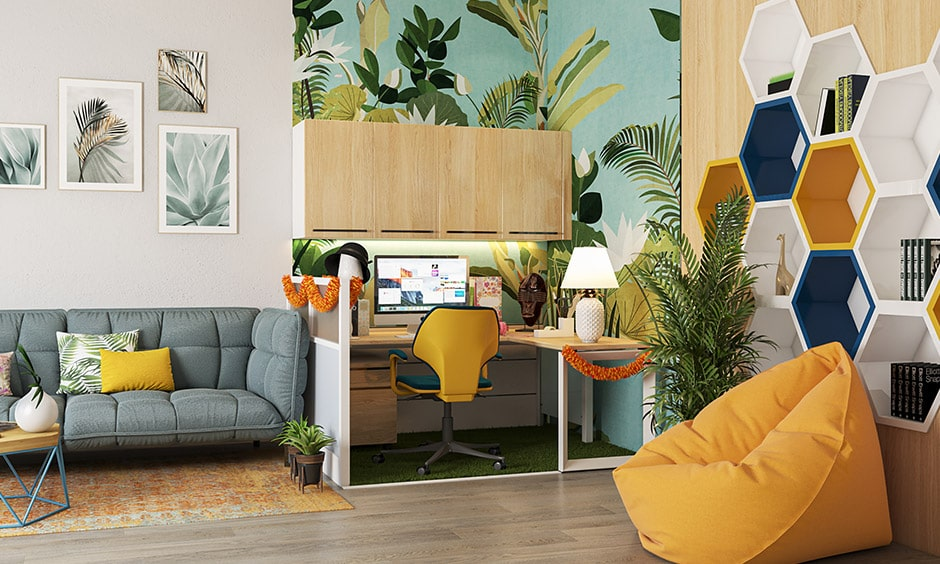 Cubicle decoration themes with a wallpaper to resemble blue skies and palm trees