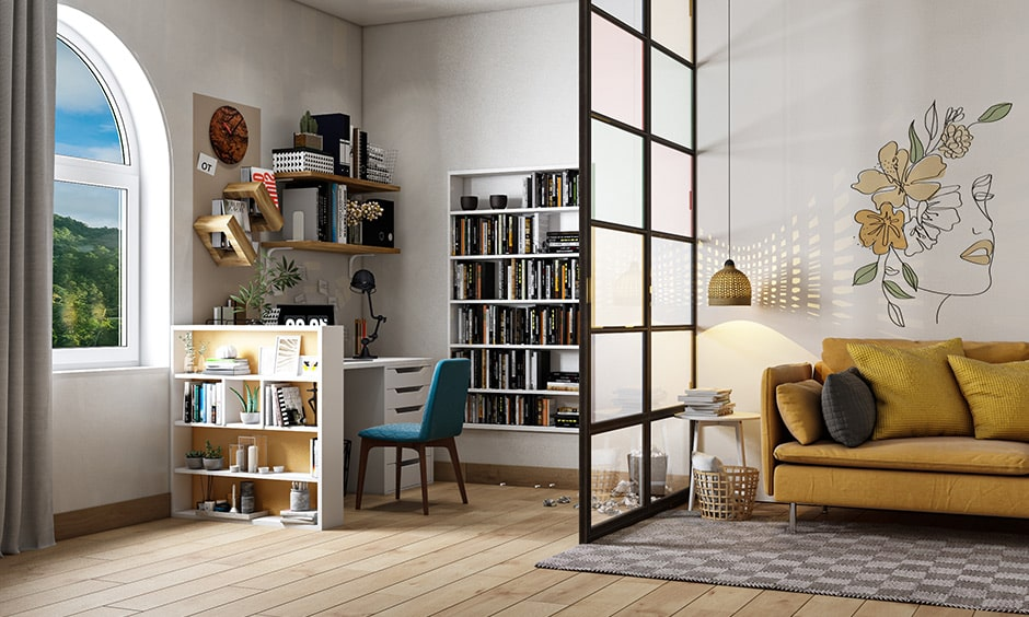 Cubicle design for bookworms with a wall mounted bookshelf