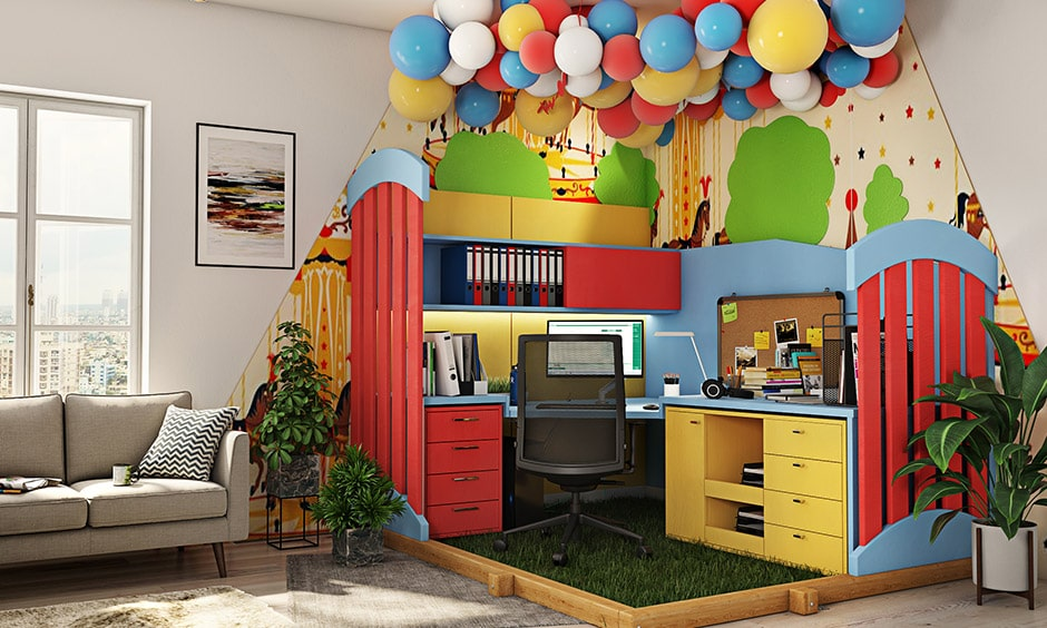 Funny cubicle decor ideas with a ceiling full of balloons and a wall full of colour