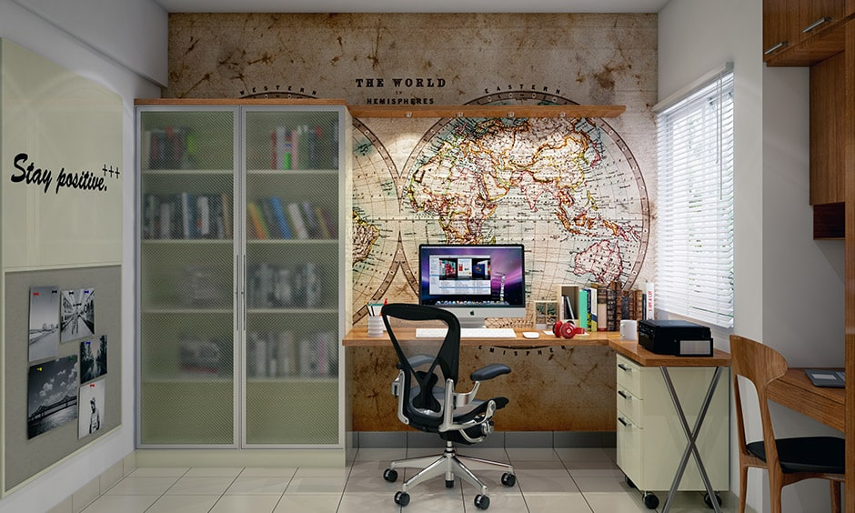 Modern student study table design with a backsplash of the world map
