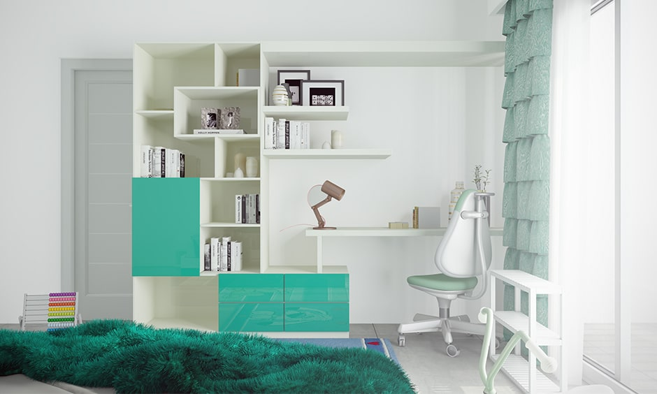 Modern study table with a bookshelf design makes a modern design study table