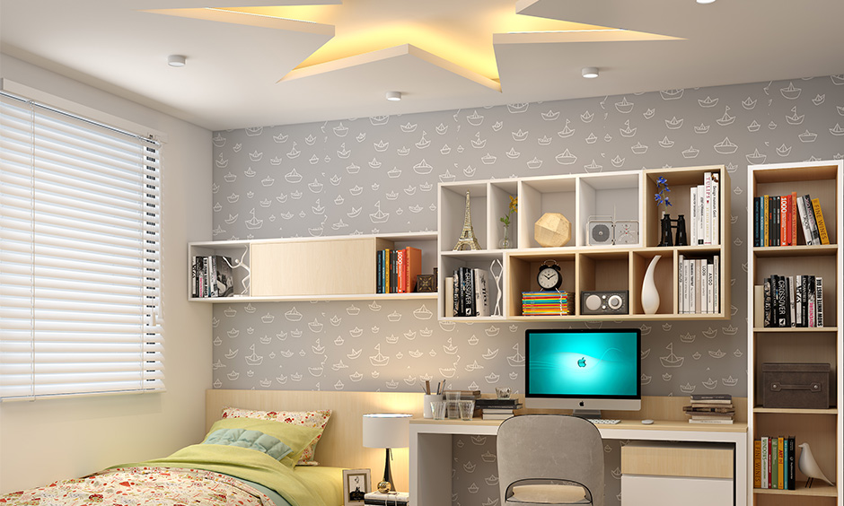 Different types of false ceiling with a star patterned false ceiling made up of plaster of paris