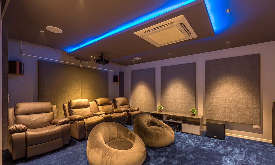 Types of false ceiling materials with various types of lights used in a eclectic