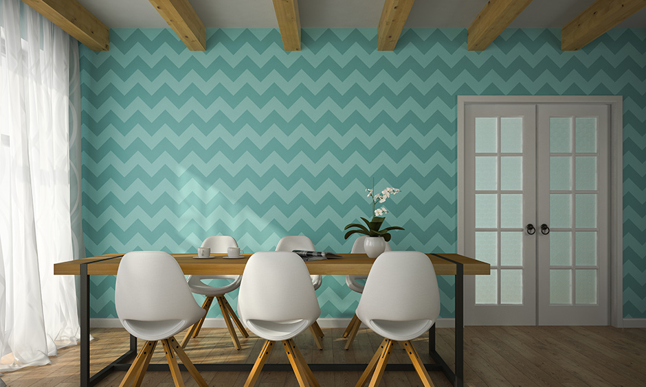 Wallpaper designs for dining room to choose the right colour to add drama and freshness to a room