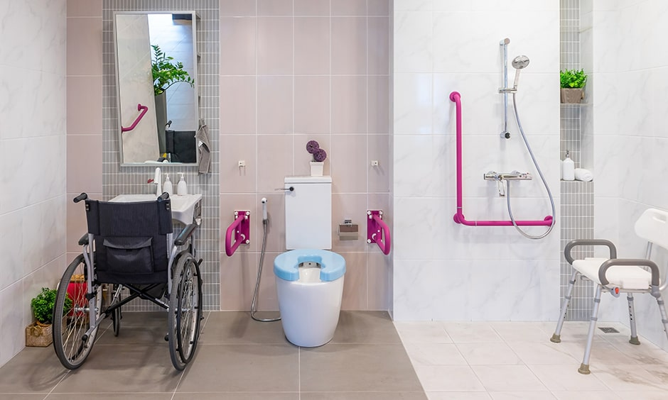 Senior citizen bathroom design images with a fresh pop of hot pink