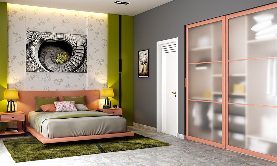 Sliding mirror wardrobe is the best fit for small rooms, and doors can be customisable with a variety of finishes.