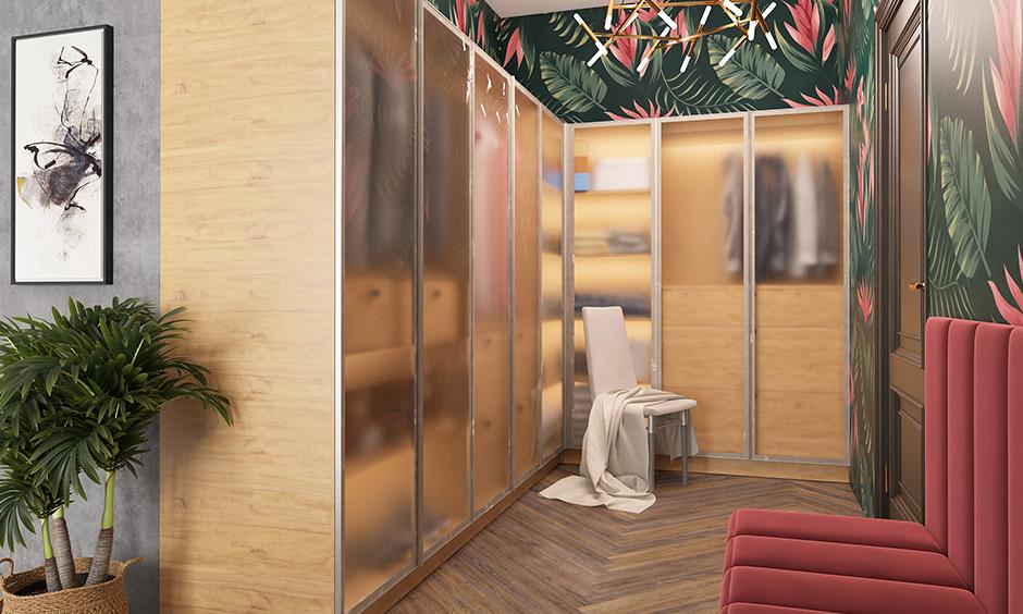 Bedroom walk-in wardrobe with shutters design works best for open walk-in closets that have no door to enter it.