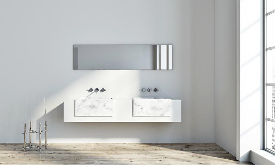 Bathroom mirror design with a sideway mirror plays a vital role in creating a trendy bathroom