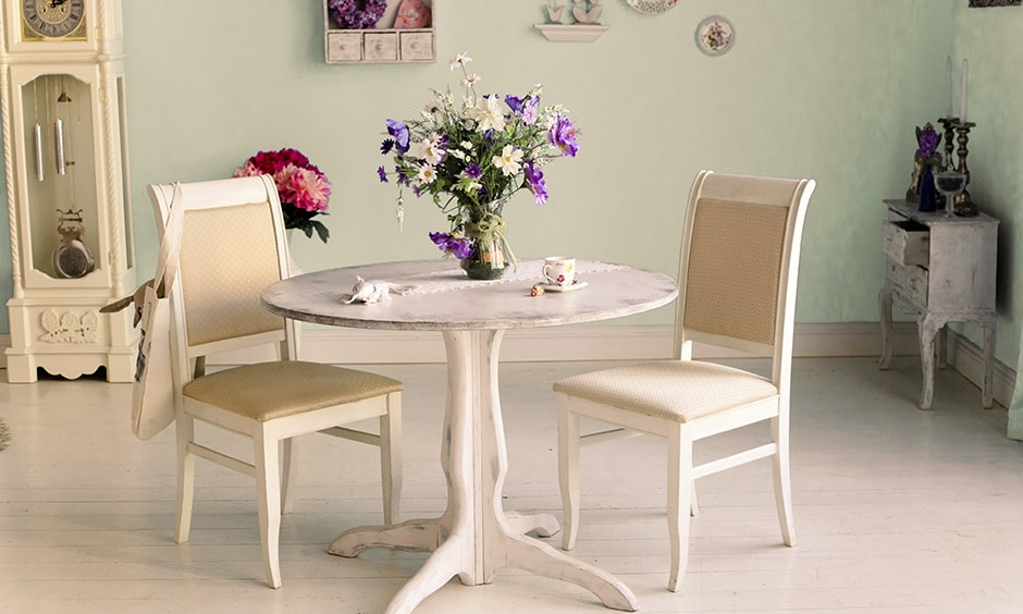 Round dining table design for small spaces with 2 seater round dining table
