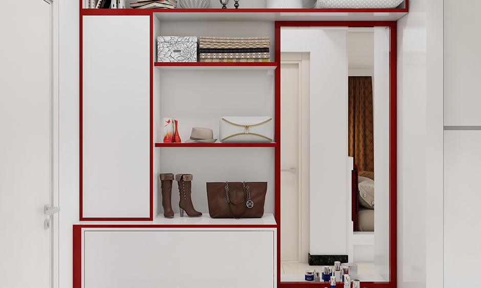 Latest design of cupboard with dressing with closed cabinets and shelves