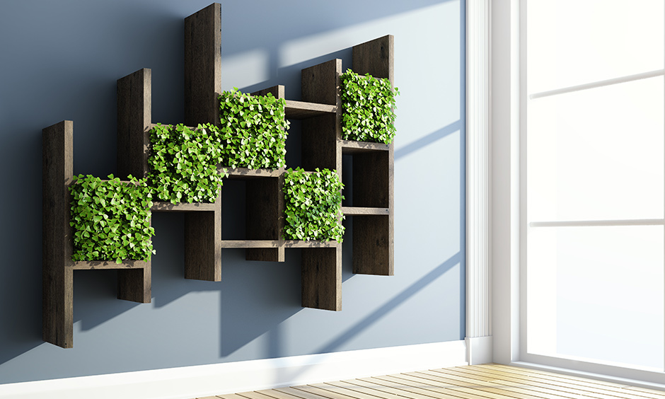 Wooden vertical garden ideas for balcony as a rack to house a few soothing planters on it