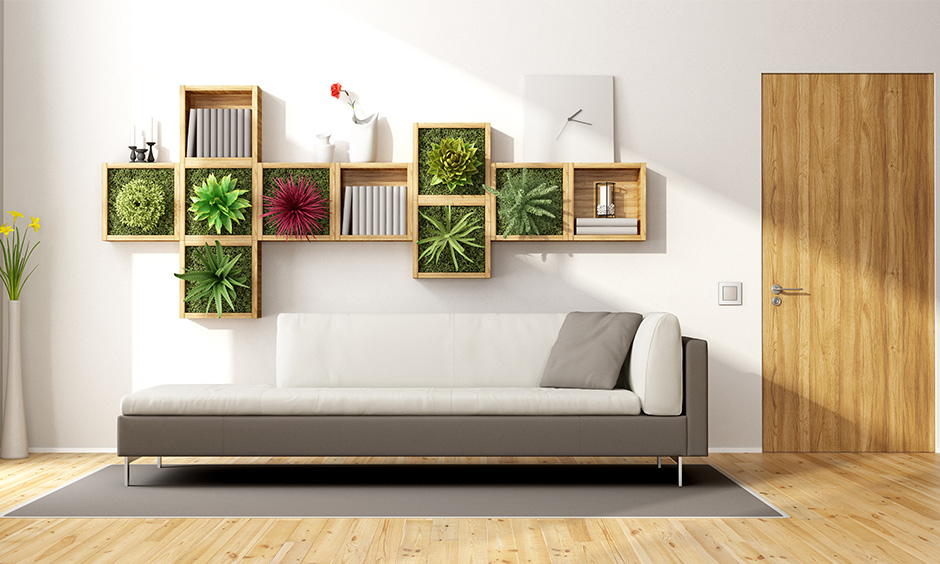 Vertical vegetable garden design ideas in an open wooden showcase which is perfect for your vertical garden
