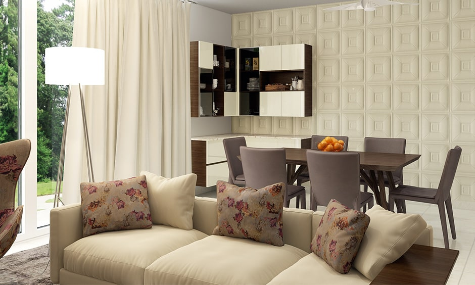 Dining room decor ideas with a wall on one side is completely upholstered
