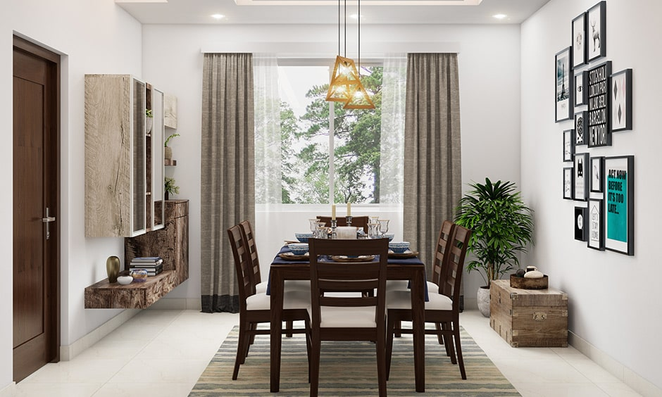 Dining room decor with pendant lights above the table for some extra charm and sparkle