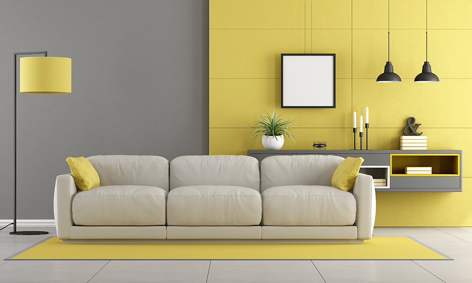Grey and yellow living room is a beautiful combination, while yellow adds brightness and grey balances the overall accent.